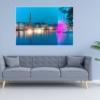 Hamburg Foto - ALS-00001 Alsterfontäne auf Binnenalster illuminiert - Wandbild