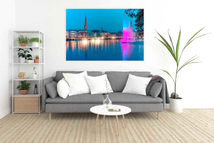 ALS-00001 - Die Alster - Alsterfontäne auf Binnenalster illuminiert - Wandbild hell