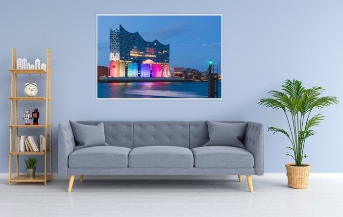 HAL-00001 - Hamburg Allgemein Stadtansichten - Elbphilharmonie am Abend zur blauen Stunde illuminiert - Wandbild dunkel