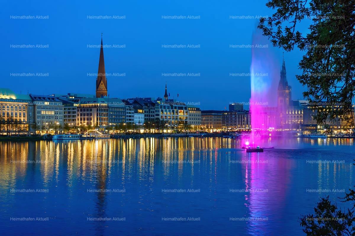 Hamburg Fotos Alster - ALS-00001-Alsterfontäne-auf-der-Binnenalster-illuminiert