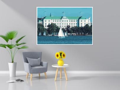 ALS-00003 - Die Alster - Segelboote vor dem Hotel ATLANTIC Aussenalster Wandbild dunkel