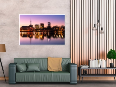ALS-00005 - Die Alster - Hamburg Skyline an der Binnenalster Wandbild dunkel