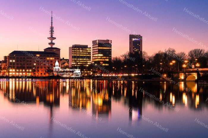 Hamburg Foto - ALS-00005 Hamburg Skyline an der Binnenalster