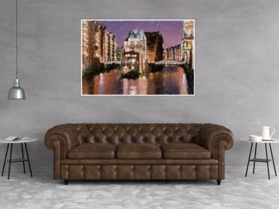 ARW-00002 - Hamburg Allgemein Stadtansichten - Wasserschloss am Abend Wandbild dunkel