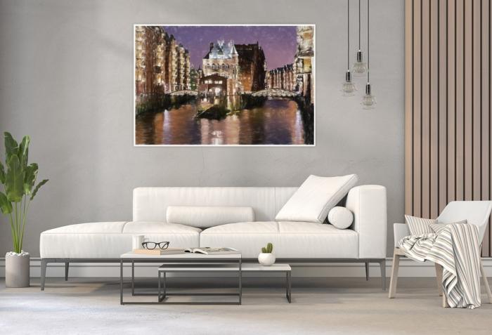 ARW-00002 - Hamburg Allgemein Stadtansichten - Wasserschloss am Abend Wandbild hell