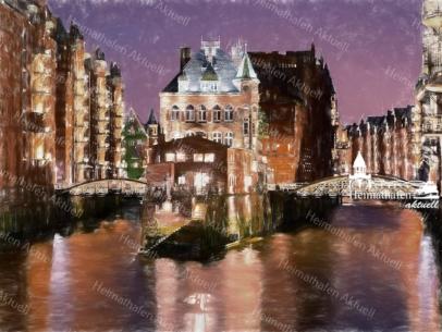 ARW-00002 - Hamburg Allgemein Stadtansichten - Wasserschloss am Abend digital gezeichnet