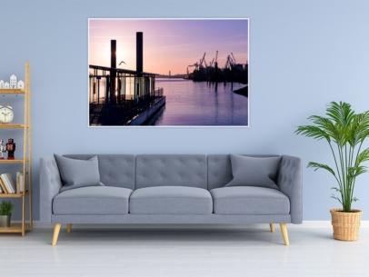 Hamburg Foto - HAF-00005 Hamburger Hafen Fähranleger König der Löwen Sonnenaufgang Wandbild