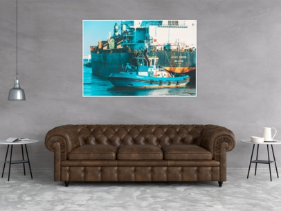 SHL-00001 Schlepper FAIRPLAY IX und Frachter NOVO MESTO Wandbild dunkel