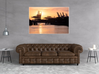 HAF-00006 - Hamburger Hafen - Hafengiraffen im Sonnenuntergang Wandbild dunkel