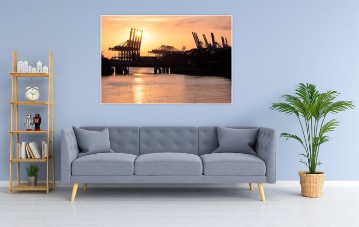 HAF-00006 - Hamburger Hafen - Hafengiraffen im Sonnenuntergang Wandbild hell