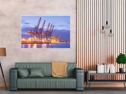 HAF-00010 - Hamburger Hafen - Hafengiraffen Containerterminal Tollerort Wandbild dunkel