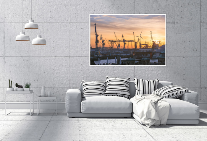 HAF-00014 - Hamburger Hafen - Hafengiraffen über dem Alten Elbtunnel Wandbild dunkel