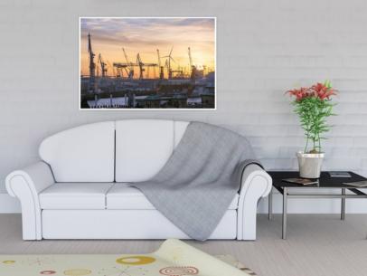 HAF-00014 - Hamburger Hafen - Hafengiraffen über dem Alten Elbtunnel Wandbild hell