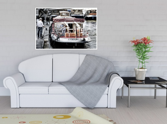 HAF-00015 - Hamburger Hafen - Barkassen und Kapitäne an den Landungsbrücken Wandbild hell