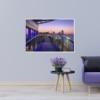Hamburg Foto - HAF-00016 Landungsbrücken bei Sonnenaufgang mit Elbphilharmonie Wandbild dunkel