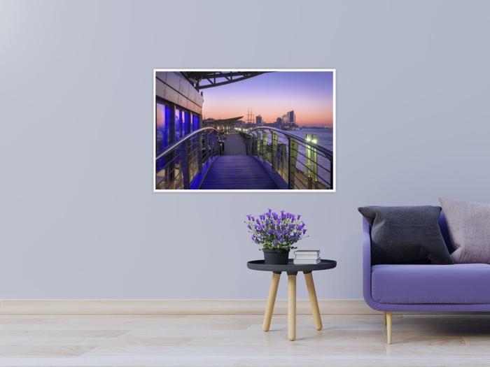 HAF-00016 - Hamburger Hafen - Landungsbrücken bei Sonnenaufgang mit Elbphilharmonie Wandbild dunkel