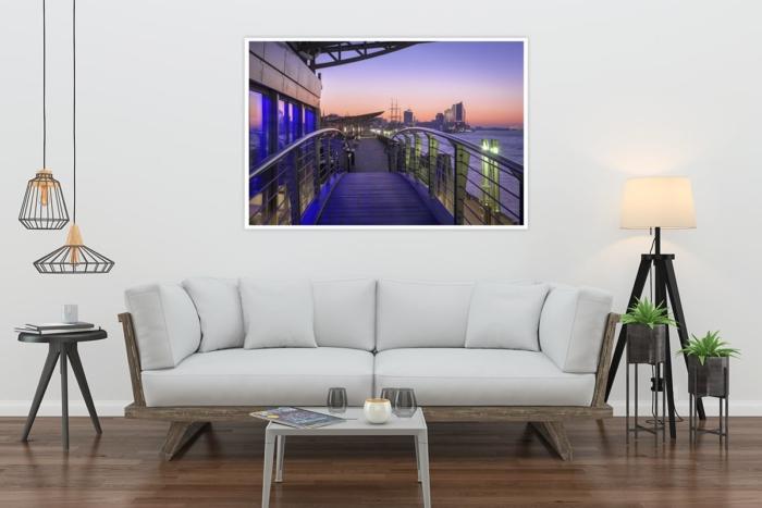 HAF-00016 - Hamburger Hafen - Landungsbrücken bei Sonnenaufgang mit Elbphilharmonie Wandbild hell