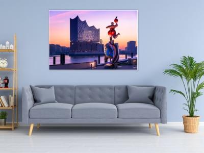 HAL-00003 Elbphilharmonie Sonnenaufgang Wandbild dunkel