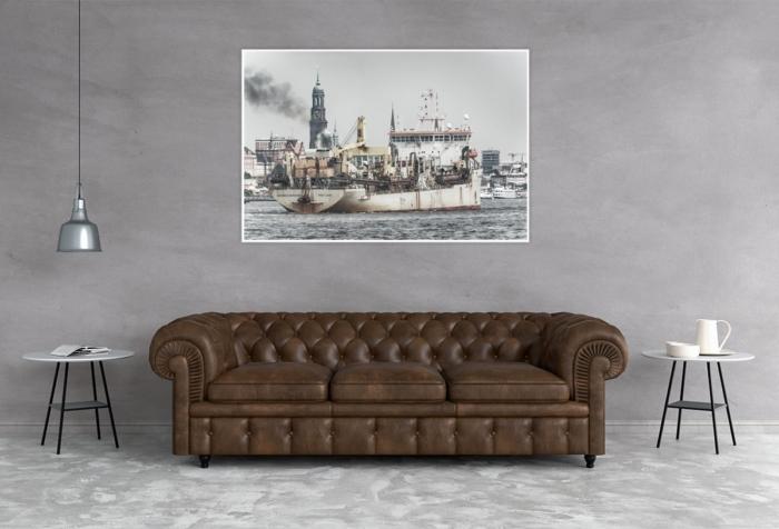 INR-00001 - Hamburger Hafen - GERARDUS MERCATOR Schlickbagger vor Hamburger Michel Wandbild dunkel