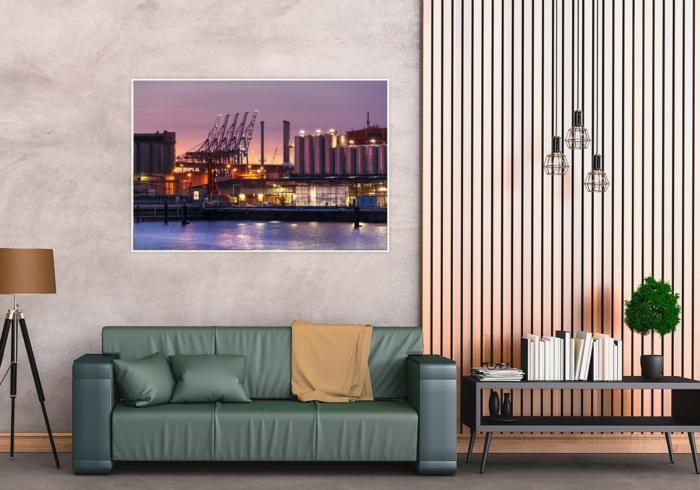 INR-00002 - Industrie & Retro - Hamburger Hafengiraffen und Industrie bei Nacht Wandbild dunkel