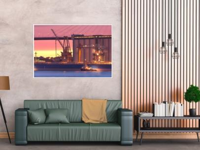 Hamburg Foto - INR-00003 Hamburger Hafenindustrie mit Schlepper WILHELMINE Wandbild