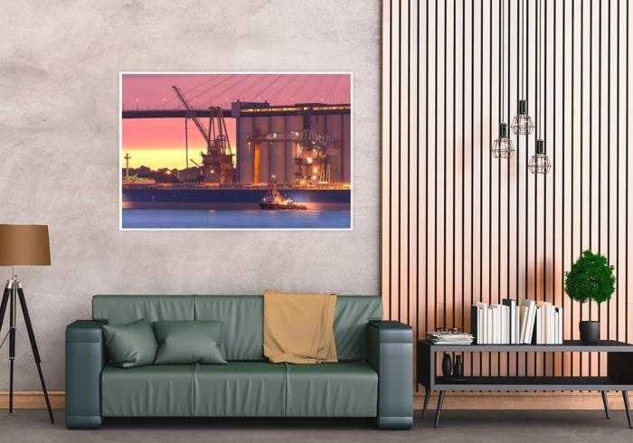 INR-00003 - Industrie & Retro - Hamburger Hafenindustrie mit Schlepper WILHELMINE Wandbild dunkel