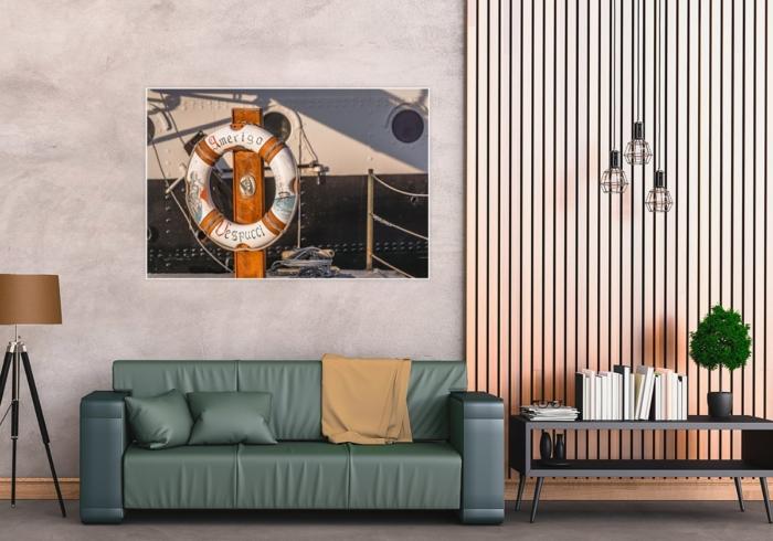 MAR-00001 - Maritimes - Rettungsring AMERIGO VESPUCCI Wandbild dunkel