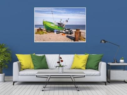 MAR-00003 - Maritimes - Fischerboot am Ostseestrand Wandbild dunkel