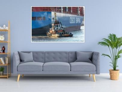 SHL-00003 - Schlepper - BUGSIER 10 und COSCO Containerschiff Wandbild dunkel
