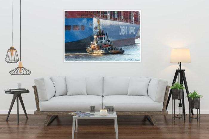 SHL-00003 - Schlepper - BUGSIER 10 und COSCO Containerschiff Wandbild hell