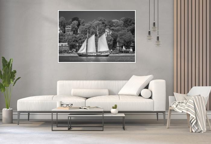 SUW-00001 - Schwarz Weiss - Segelschiff ABEL TASMAN vor Neumühlen - Blankenese Wandbild hell