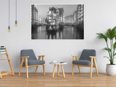 Hamburg Foto - SUW-00003 Wasserschloss Speicherstadt Wandbild dunkel