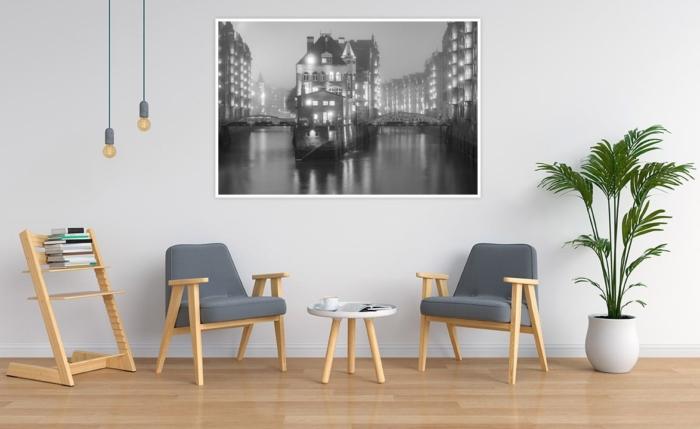 SUW-00003 - Schwarz Weiss - Wasserschloss Speicherstadt Wandbild dunkel