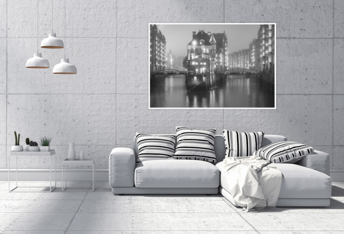 SUW-00003 - Schwarz Weiss - Wasserschloss Speicherstadt Wandbild hell