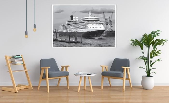 SUW-00005 - Schwarz Weiss - Kreuzfahrtschiff QUEEN ELIZABETH Wandbild hell