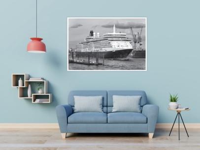 SUW-00005 - Schwarz Weiss - Kreuzfahrtschiff QUEEN ELIZABETH Wandbild dunkel