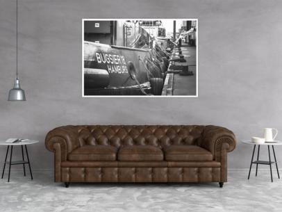SUW-00006 - Schwarz Weiss - Schlepper BUGSIER 18 Wandbild dunkel