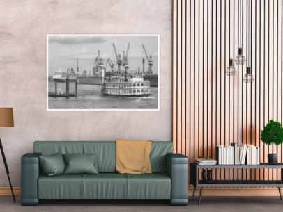 SUW-00009 - Schwarz Weiss - QUEEN ELIZABETH und LOUISIANA STAR im Hamburger Hafen Wandbild dunkel
