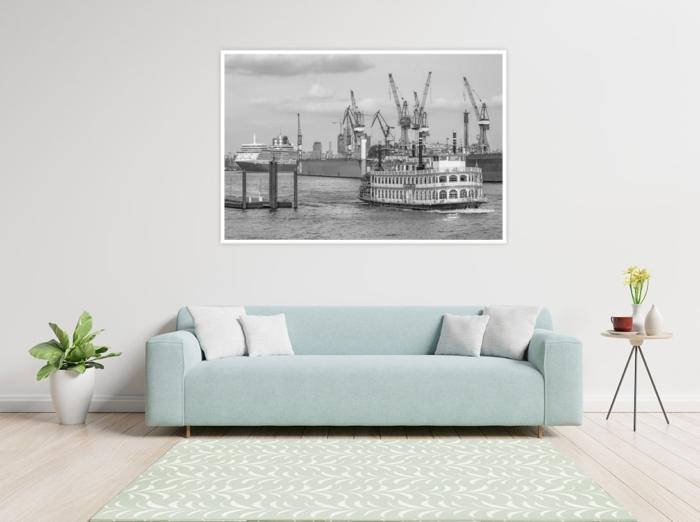 SUW-00009 - Schwarz Weiss - QUEEN ELIZABETH und LOUISIANA STAR im Hamburger Hafen Wandbild hell