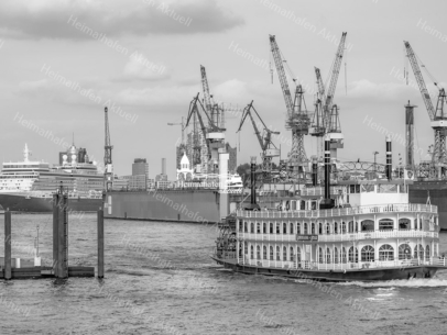 SUW-00009 - Schwarz Weiss - QUEEN ELIZABETH und LOUISIANA STAR im Hamburger Hafen