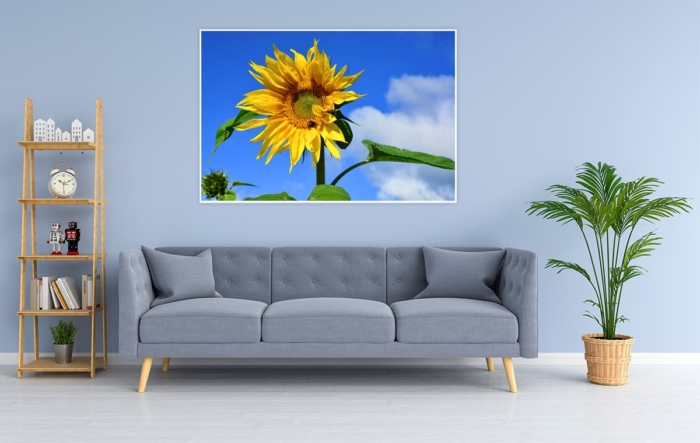 KUD-00001 - Kuddelmuddel - Sonnenblume Wandbild dunkel
