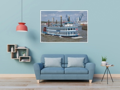 HAF-00018 - Hamburger Hafen - Schaufelraddampfer LOUISIANA STAR auf Hafenrundfahrt Wandbild dunkel