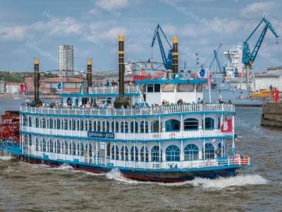 HAF-00018 - Hamburger Hafen - Schaufelraddampfer LOUISIANA STAR auf Hafenrundfahrt