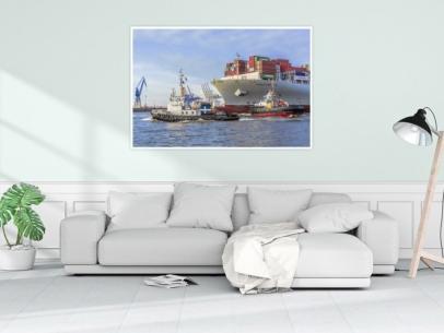 SHL-00013 - Schlepper - HANS und MICHEL im Schleppverband mit Contaierschiff COSCO FORTUNE Wandbild hell