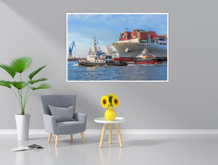SHL-00013 - Schlepper - HANS und MICHEL im Schleppverband mit Contaierschiff COSCO FORTUNE Wandbild dunkel