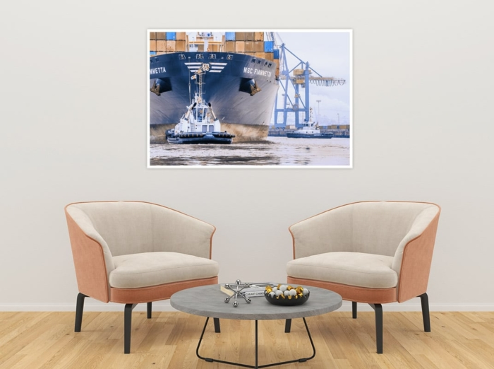 SHL-00019 - Schlepper - VB RASANT und Containerschiff MSC FIAMMETTA Wandbild 2