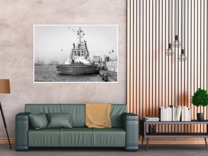 SUW-00010 - Schwarz Weiss - KOTUG SCHLEPPER im Hamburger Hafen Wandbild dunkel