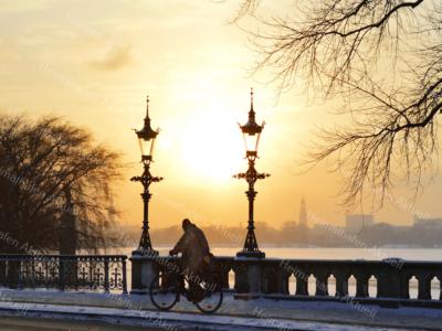 Hamburg Fotos und Bilder - Alster - ALS-00009-Winter an der Aussenalster Wandbild