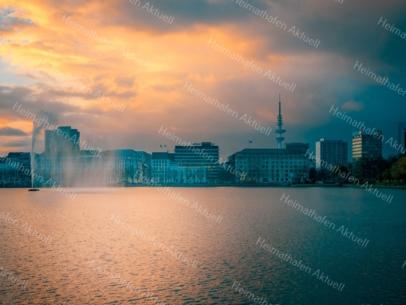 Hamburg Fotos und Bilder - Alster - ALS-00011-Sonnenuntergang an der Binnenalster