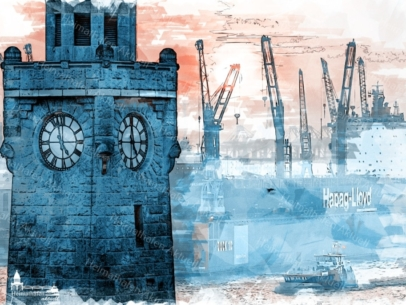 ARW-00130 - Digital Art Inga Lewandowski -Pegelturm Landungsbrücken